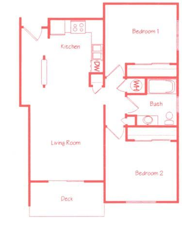 Redwood two bedroom one bathroom floor plan at Highland View