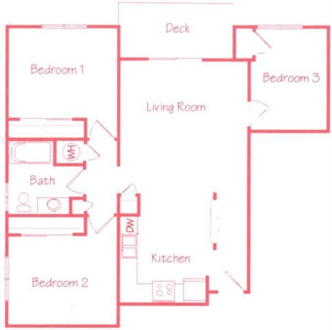 Sequoia two bedroom one bathroom floor plan at Highland View