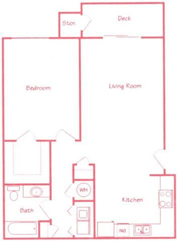 Spruce one bedroom one bathroom floor plan at Highland View