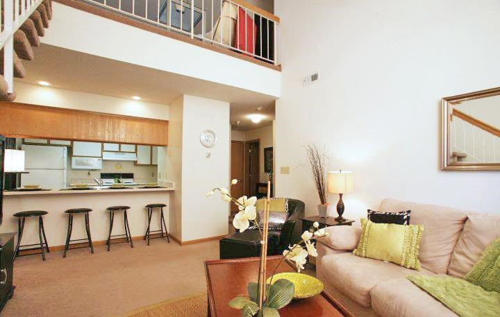 Interiors-Skyline View Apartments Living Area with Breakfast Bar in Lincoln NE