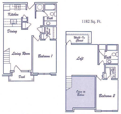 Cityscape two bedroom two bathroom floorplan at Skyline View Apartments