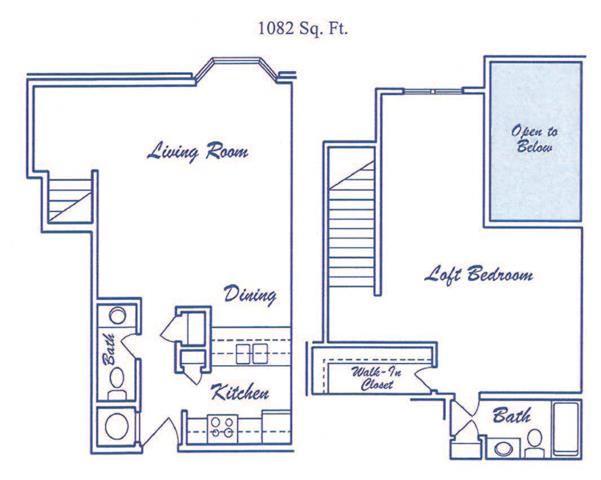 Empyrean one bedroom one bathroom floorplan at Skyline View Apartment