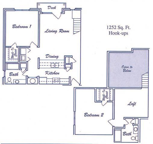 Purview two bedroom two bathroom floorplan at Skyline View Apartments