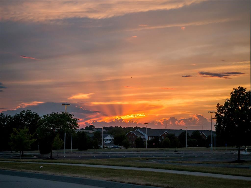 sunset at Pine Lake Heights Apartments in Lincoln Nebraska
