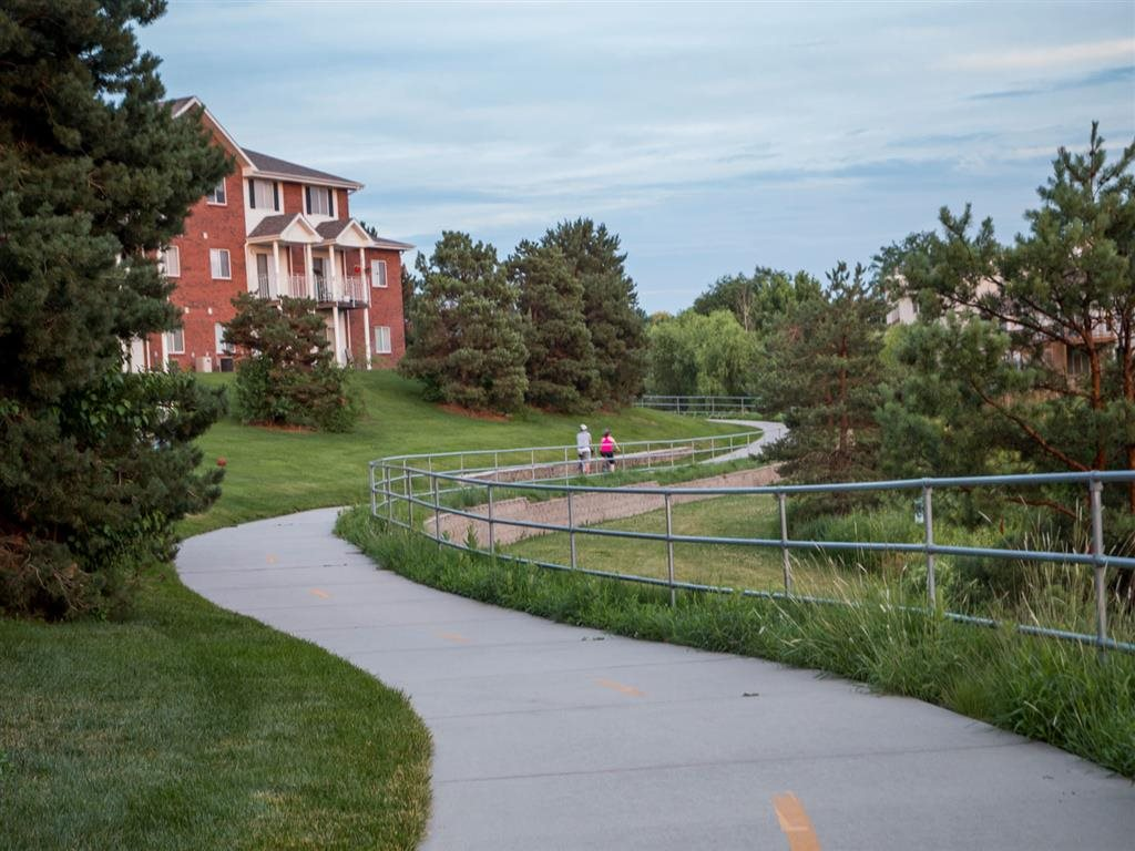 jogging path near Pine Lake Heights Apartments in Lincoln Nebraska
