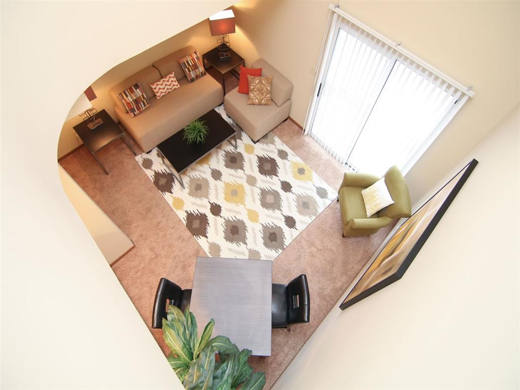 spacious living room at Pine Lake Heights Apartments in Lincoln Nebraska