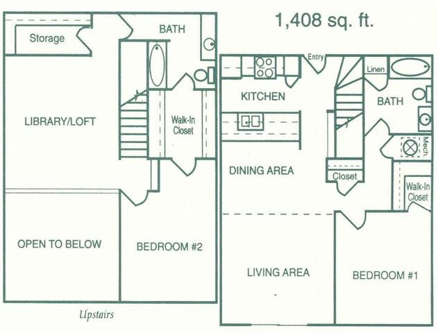 Geneva two bedroom two bathroom floorplan at Pine Lake Heights Apartment