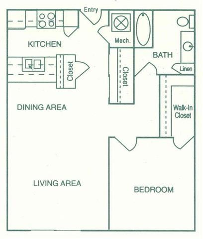 Imperial one bedroom one bathroom floorplan at Pine Lake Heights Apartments