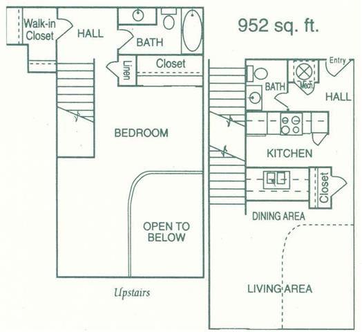 Madison II one bedroom one bathroom floorplan at Pine Lake Heights Apartments