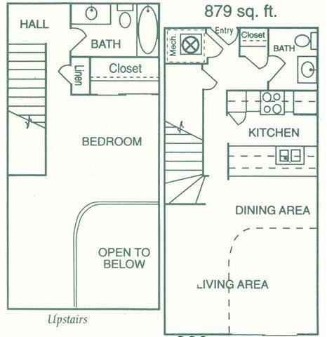 Madison one bedroom one bathroom floorplan at Pine Lake Heights Apartments