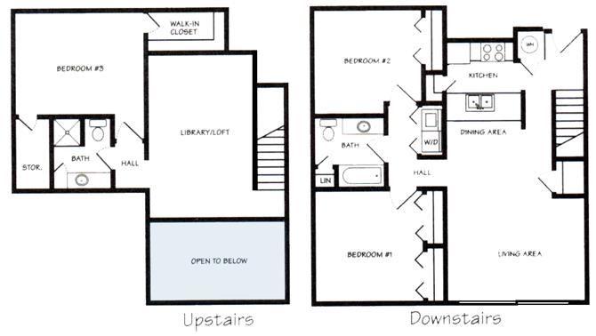 Schuyler I three bedroom two bathroom floorplan at Pine Lake Heights Apartment
