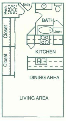 Shelby studio one bathroom floorplan at Pine Lake Heights Apartments