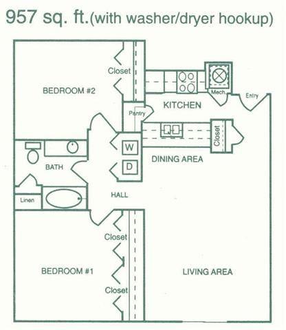 Stanton two bedroom one bathroom floorplan at Pine Lake Heights Apartment