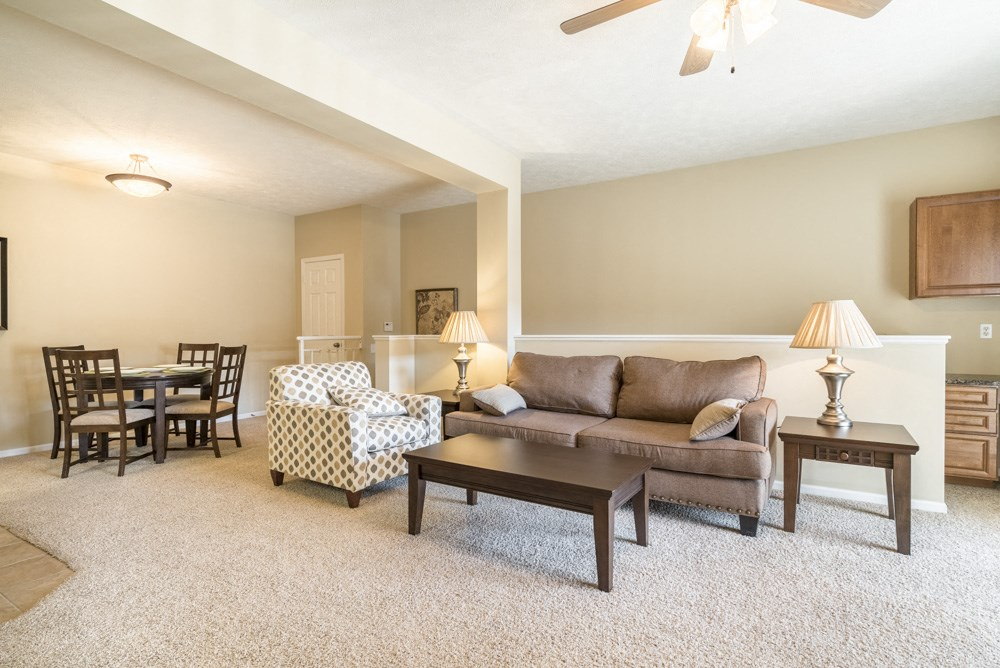 Interiors-Ridge Pointe Villas living room with dining area in south Lincoln NE
