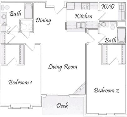 River two bedroom two bathroom floorplan at Pinebrook Apartments
