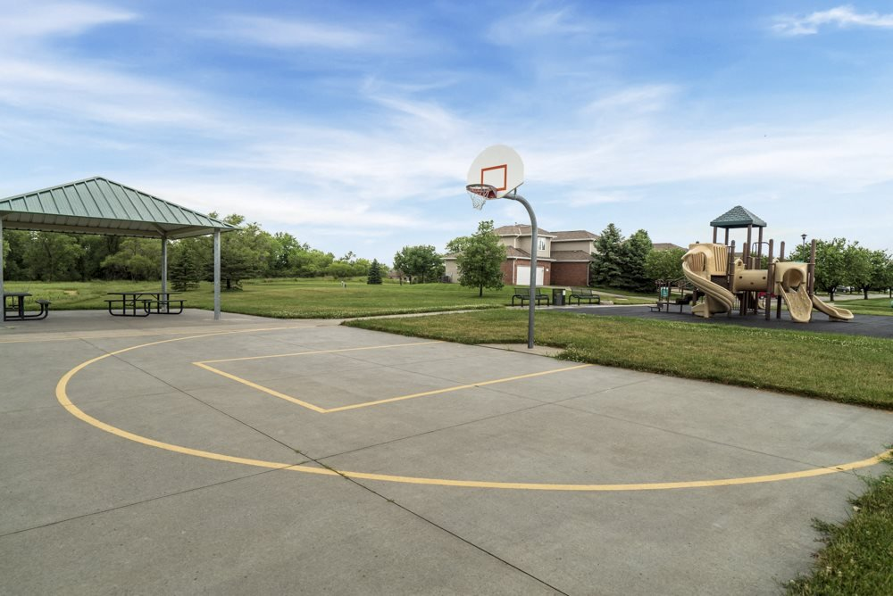Basketball court at Schleich Park near Cascade Pines Duplex Homes in Lincoln NE