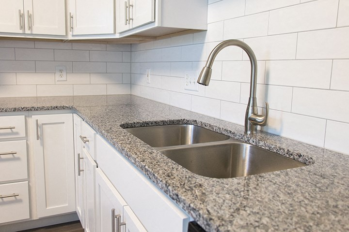 Interiors- Stainless-steel sink in kitchen at Cascade Pines Town-homes Lincoln Nebraska