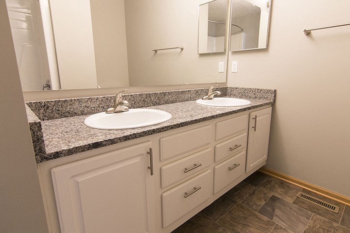 Interiors- Jack and Jill sinks in the master bathroom at Cascade Pines Town-homes Lincoln Nebraska