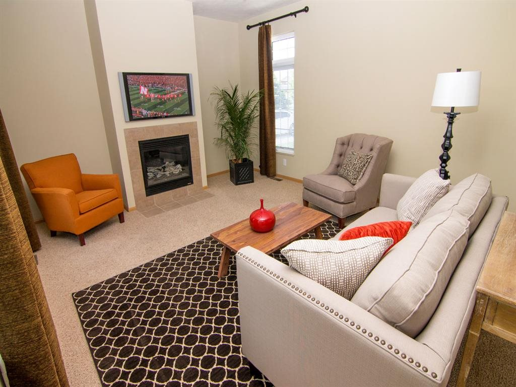 Living Room with a fireplace at Cascade Pines Duplex Homes in Lincoln NE