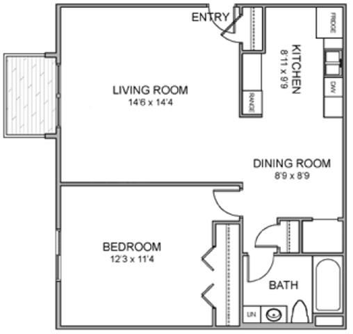 Melbourne one bedroom one bathroom floor plan at Moore Place