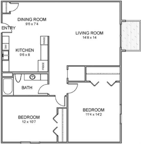 Sandy two bedroom one bathroom floor plan at Moore Place