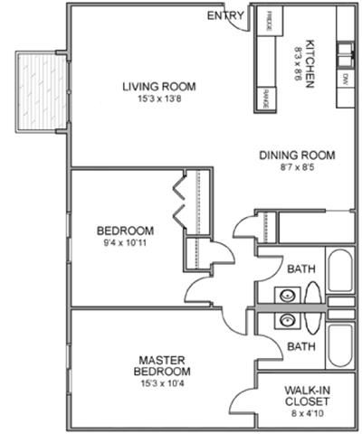 Woodstock two bedroom two bathroom floor plan at Moore Place