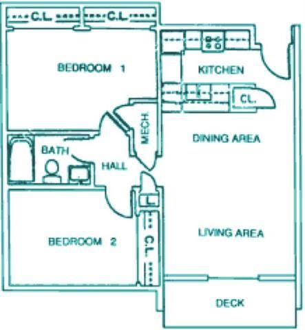Elm two bedroom one bathroom floor plan at Packard House