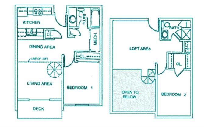 Maple two bedroom two bathroom floorplan at Packard House