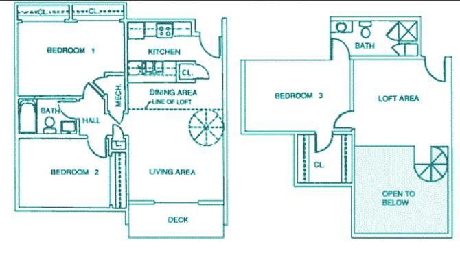 Montello three bedroom two bathroom floorplan at Packard House