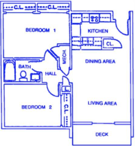 Annapolis two bedroom one bathroom apartments at Capitol View Apartments
