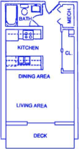 Phoenix 2 studio one bathroom apartment at Capitol View Apartments
