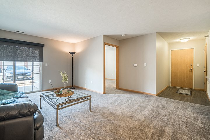 Bright and open living room floor plan at Williamsburg Park Apartments in Lincoln NE