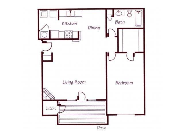 Roanoke River one bedroom one bathroom floor plan at Williamsburg Park Apartments