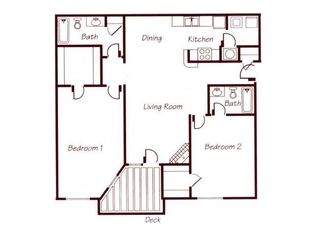 James River two bedroom two bathroom floor plan at Williamsburg Park Apartments