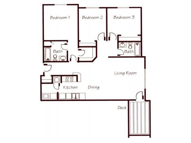 York River three bedroom two bathroom floor plan at Williamsburg Park Apartments
