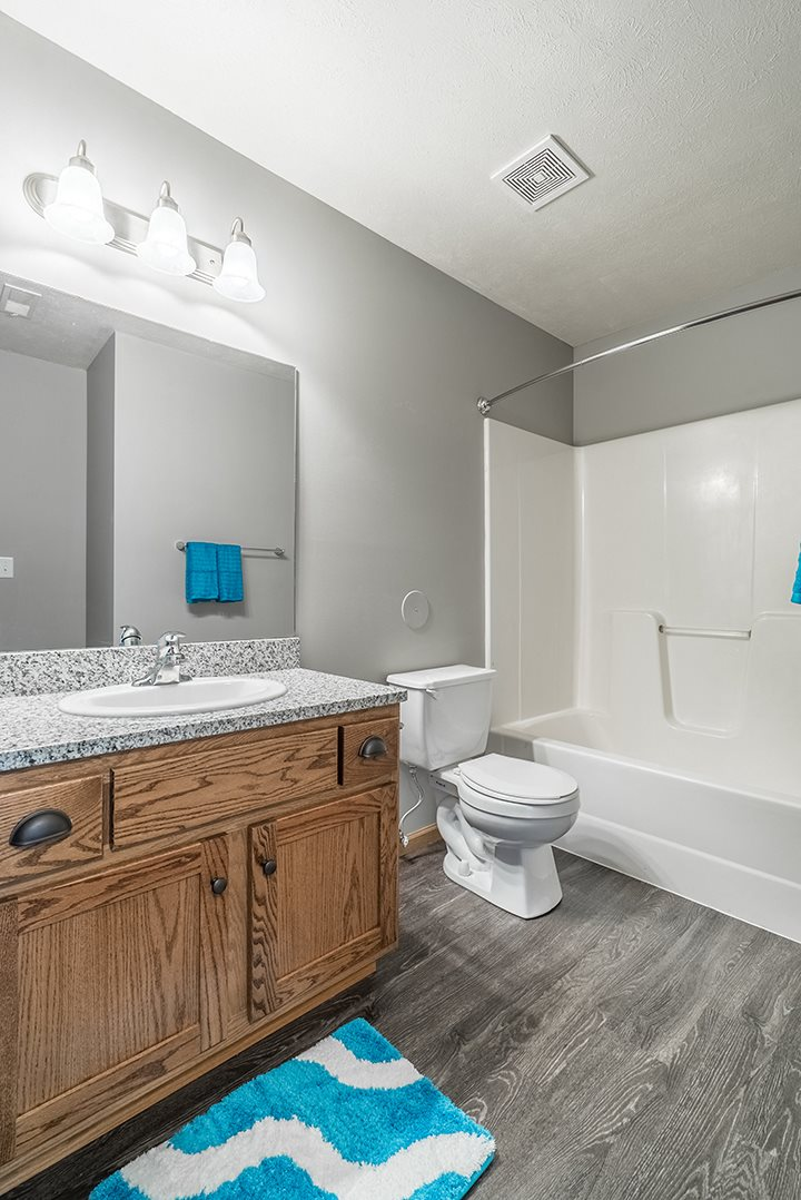 Bathroom with granite and hardwood-style floors at Williamsburg Park Apartments in south Lincoln NE 68516