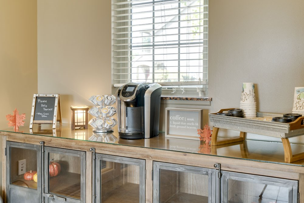 Coffee station in the clubhouse at Stone Creek Villas townhomes in west Omaha NE 68116