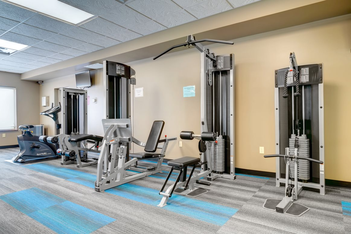 Features include free weights, cardio and weight machines