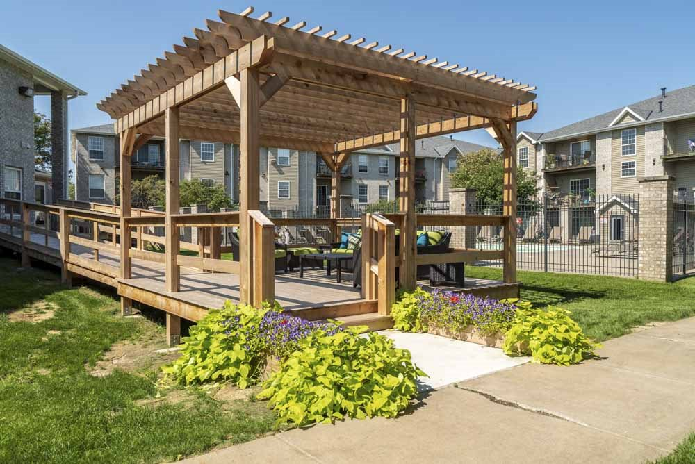 Pergola at Eagle Run Apartments in northwest Omaha 68164