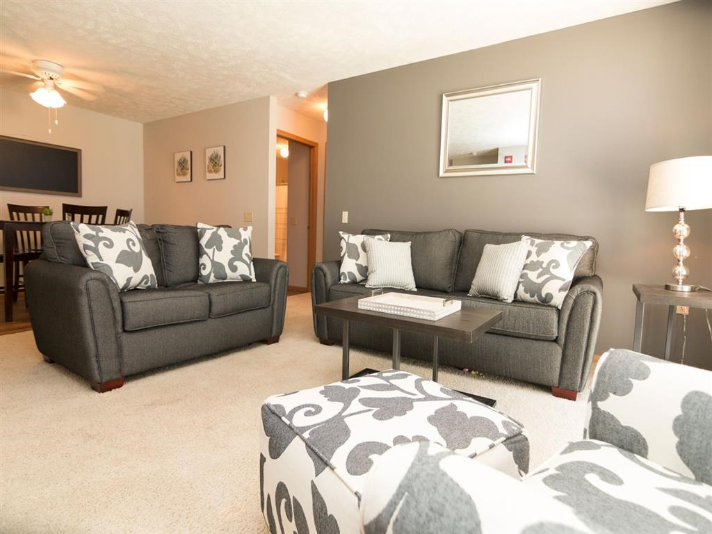 Large living room space at Eagle Run Apartments in Omaha, NE