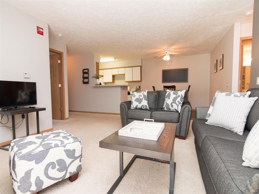 View of spacious living room in a two bedroom apartment at Eagle Run Apartments in Omaha, NE