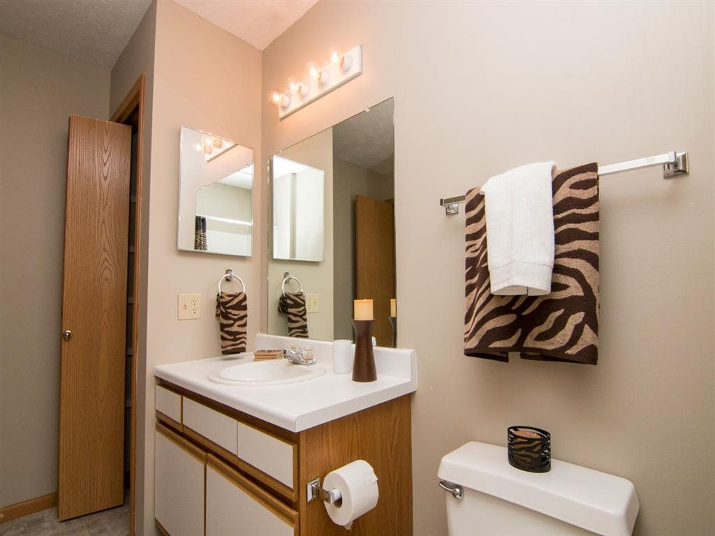 Bathroom with storage at Eagle Run Apartments in Omaha, NE