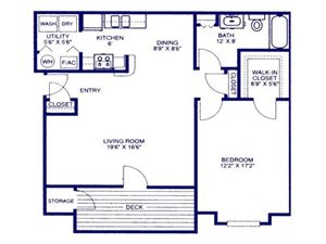 The Classic one bedroom one bathroom apartment at Eagle Run Apartments