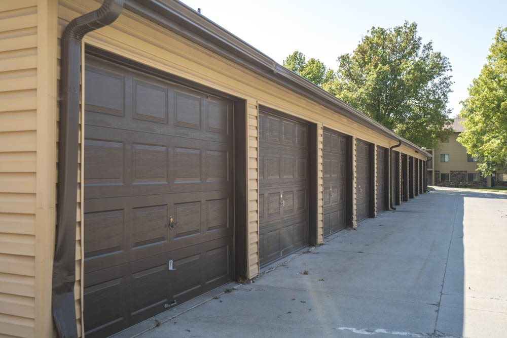 Detached garages at Oakwood Trail Apartments in northwest Omaha, NE, 68164