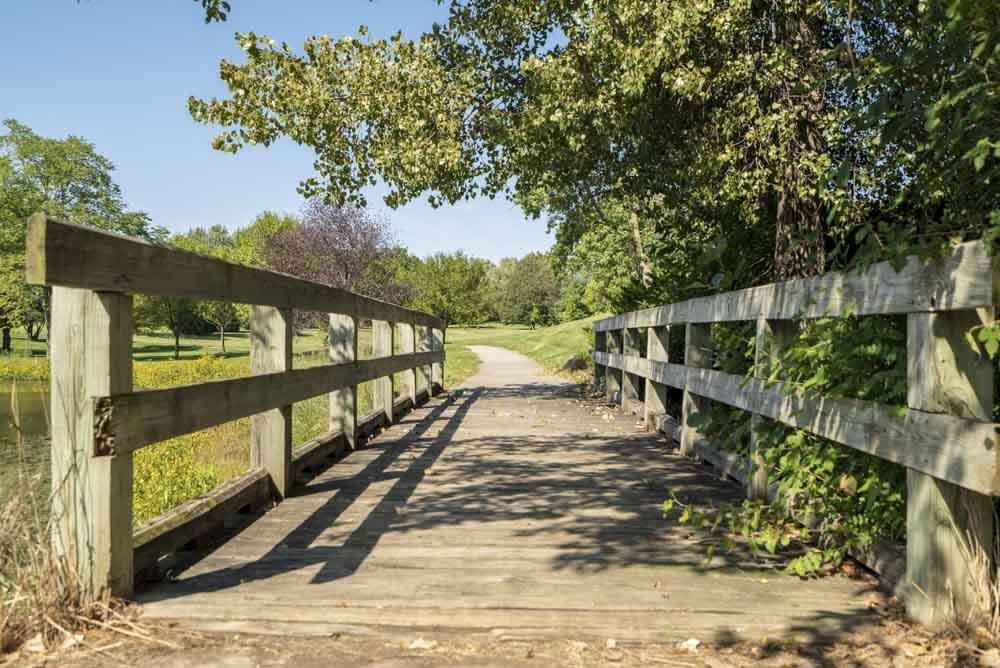 Bridge at Rambleridge Park next to Oakwood Trail Apartments in northwest Omaha, NE, 68164