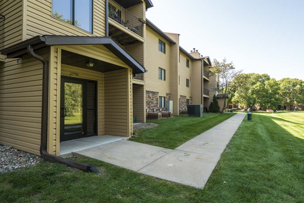 Controlled-access building entry at Oakwood Trail Apartments in northwest Omaha, NE, 68164