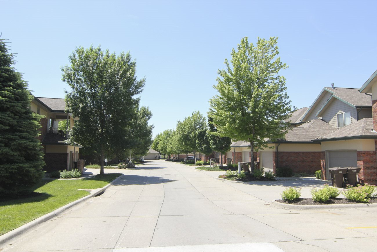 Exteriors-Wide neighborhood style streets at Southwind Villas in La Vista NE