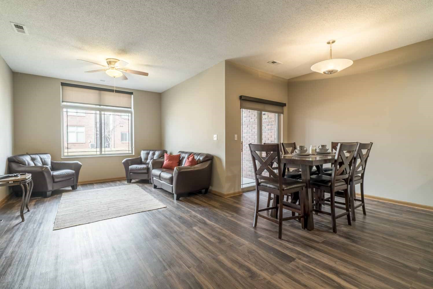 Townhome villa with hardwood-style floors at Southwind Villas in southwest Omaha in La Vista, NE, 68128