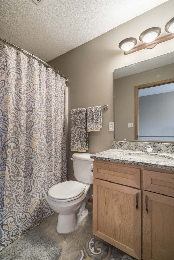 Bathroom with modern cabinets at Southwind Villas in southwest Omaha in La Vista, NE, 68128