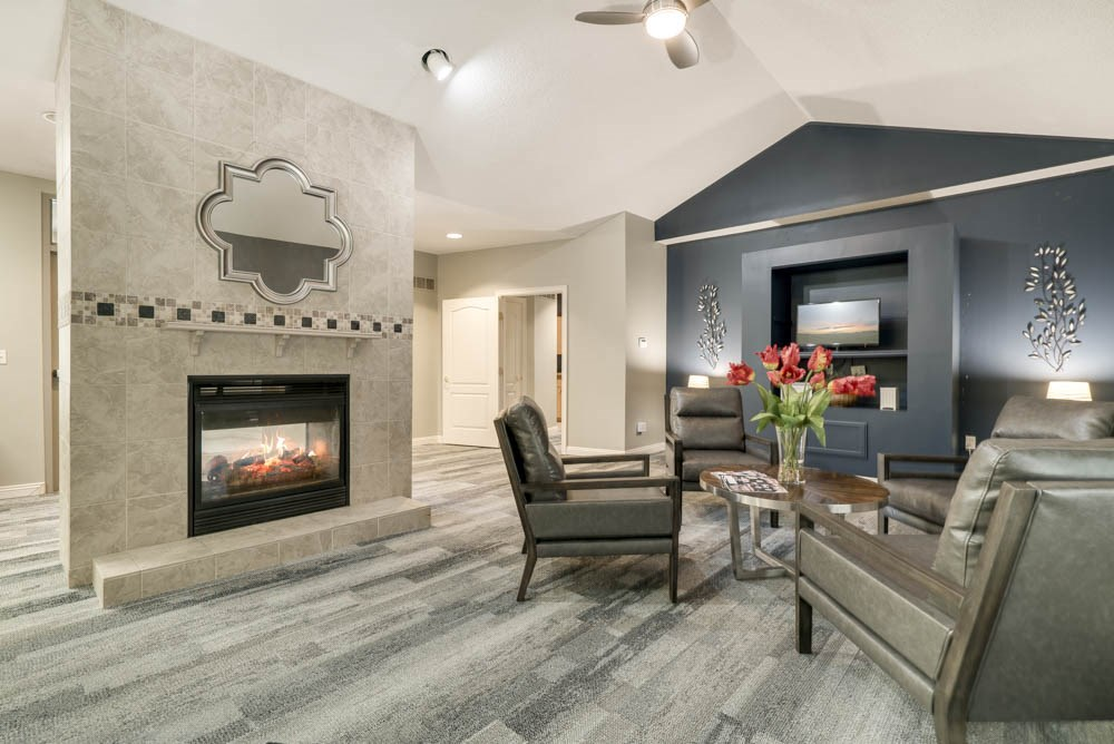 Clubhouse leasing lounge with fireplace at Southwind Villas in southwest Omaha in La Vista, NE, 68128